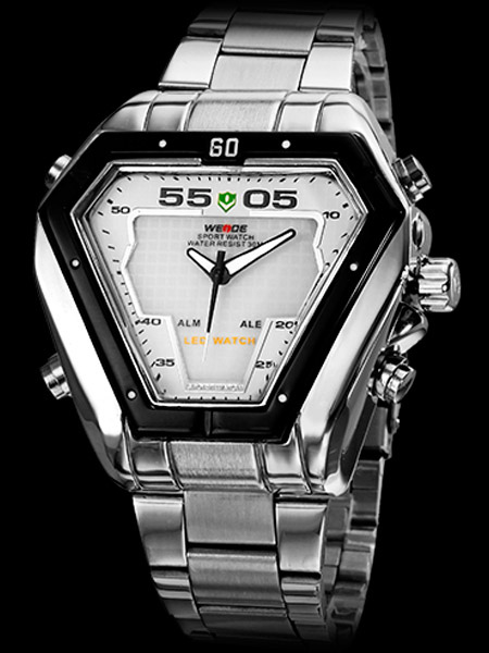 White Metal Stainless Steel Strap Round Shape LCD Wrist Watch for Men