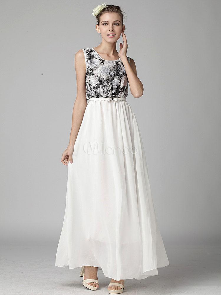Vestido largo de chifón de multicolores con estampado floral de moda ,No.4