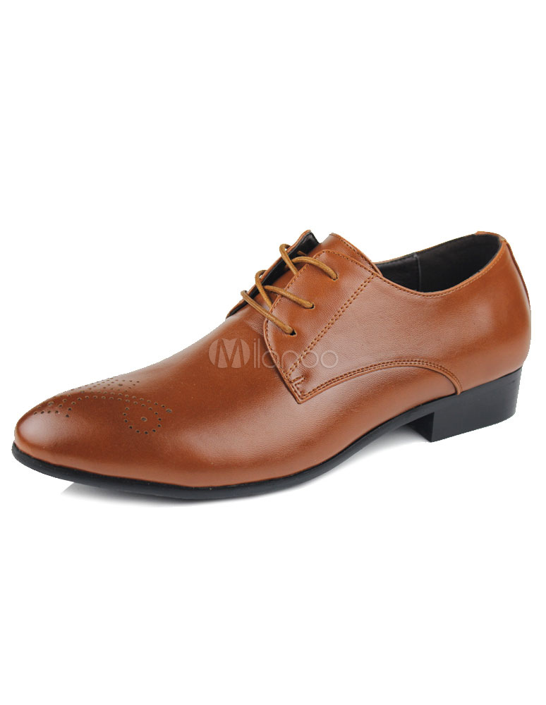 light brown pointed toe cut out lace up dress shoes for