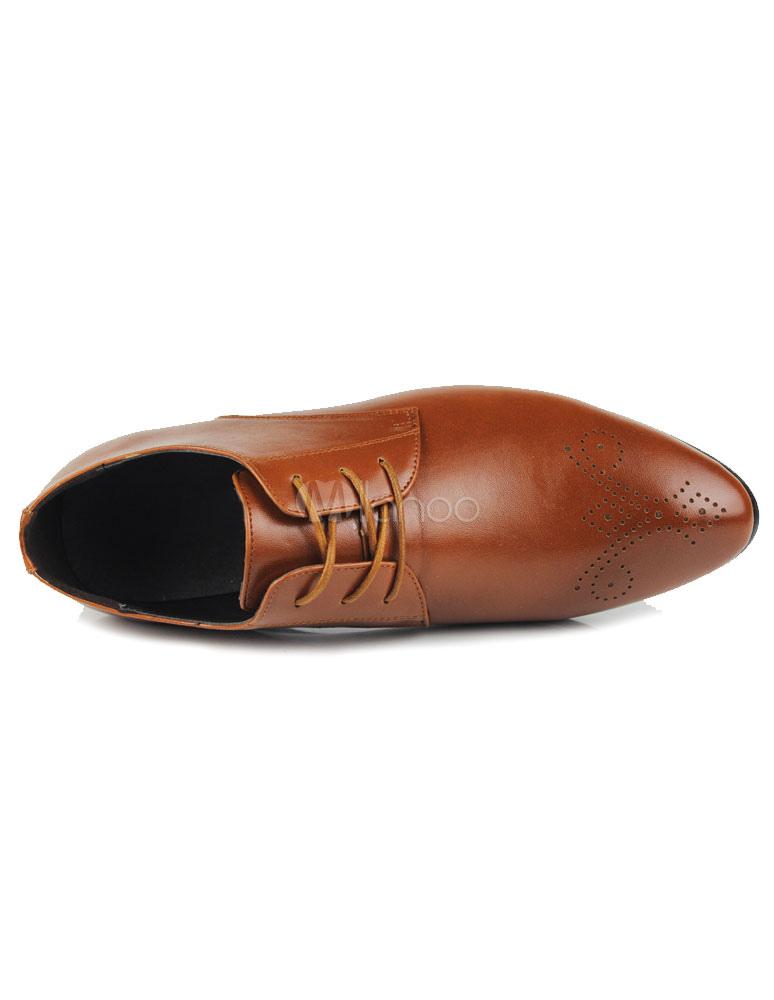 chaussures homme bout pointu en pu marron. Black Bedroom Furniture Sets. Home Design Ideas
