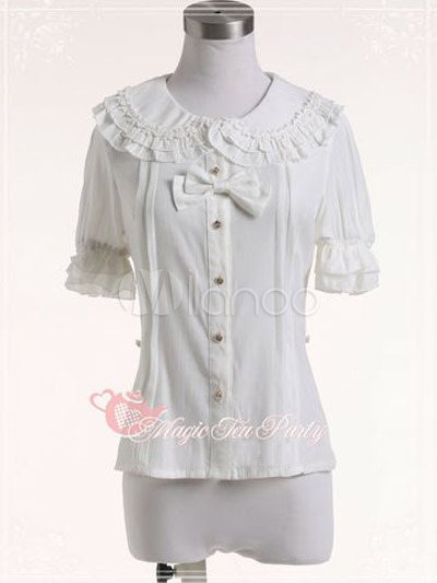 Sweet Hime Short Sleeves Cotton Flax Lolita Blouse $33.99 AT vintagedancer.com