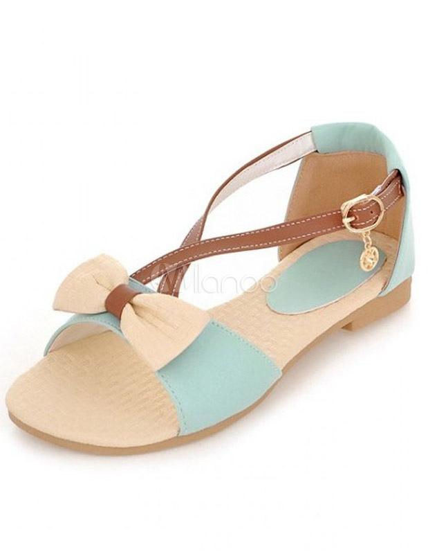 sandales plates chic crois es en pu color block avec. Black Bedroom Furniture Sets. Home Design Ideas