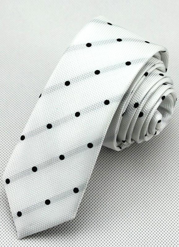 Cool White Polyester Mens Tie with Black Polka Dot thumbnail