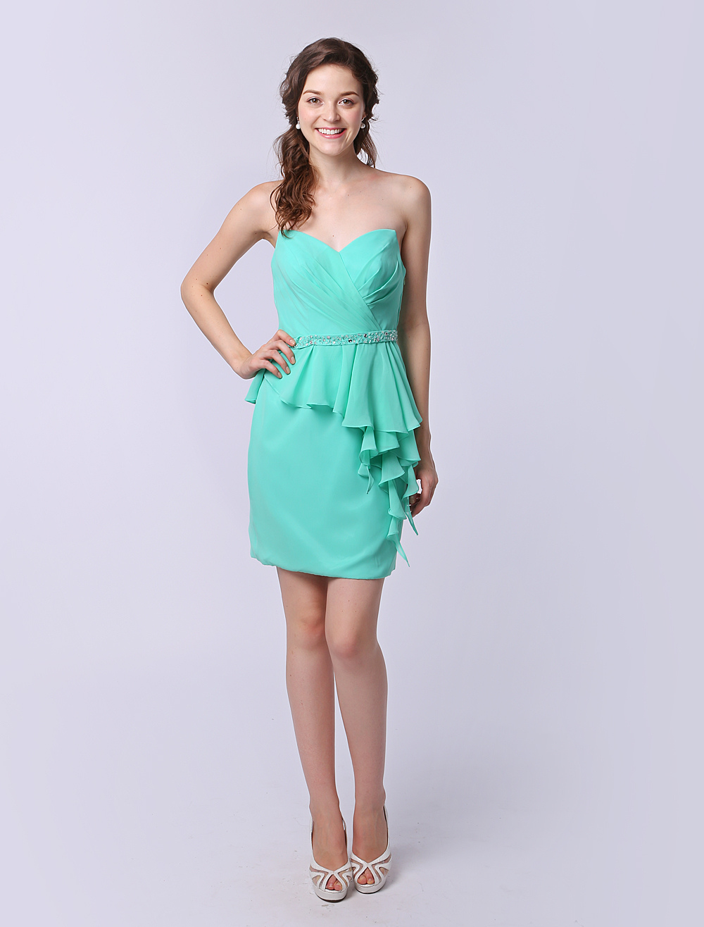Short Sweetheart Bridesmaid Dress Mint Green Ruffle Chiffon Knee Length Wedding Party Dress Milanoo