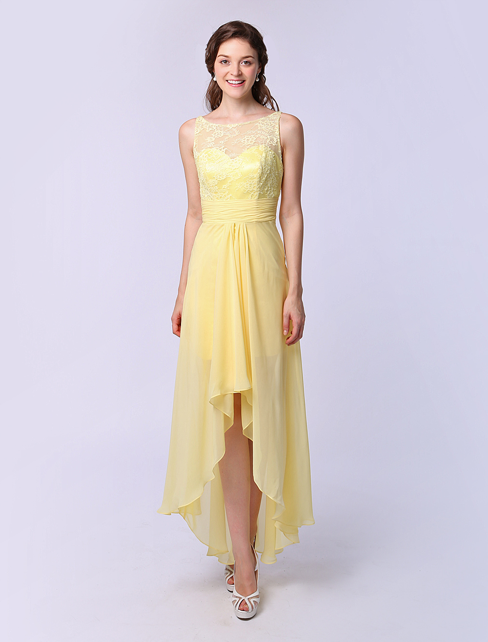 A-line Jewel Neck Asymmetrical Bridesmaid Dress Ruffle Milanoo