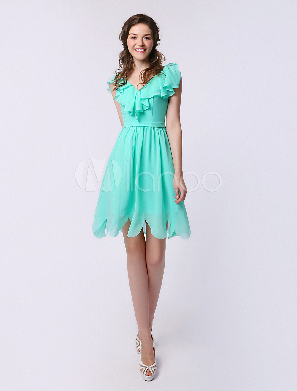 Short Bridesmaid Dress Mint Green V Neck Ruffle Chiffon A Line Party Dress Milanoo