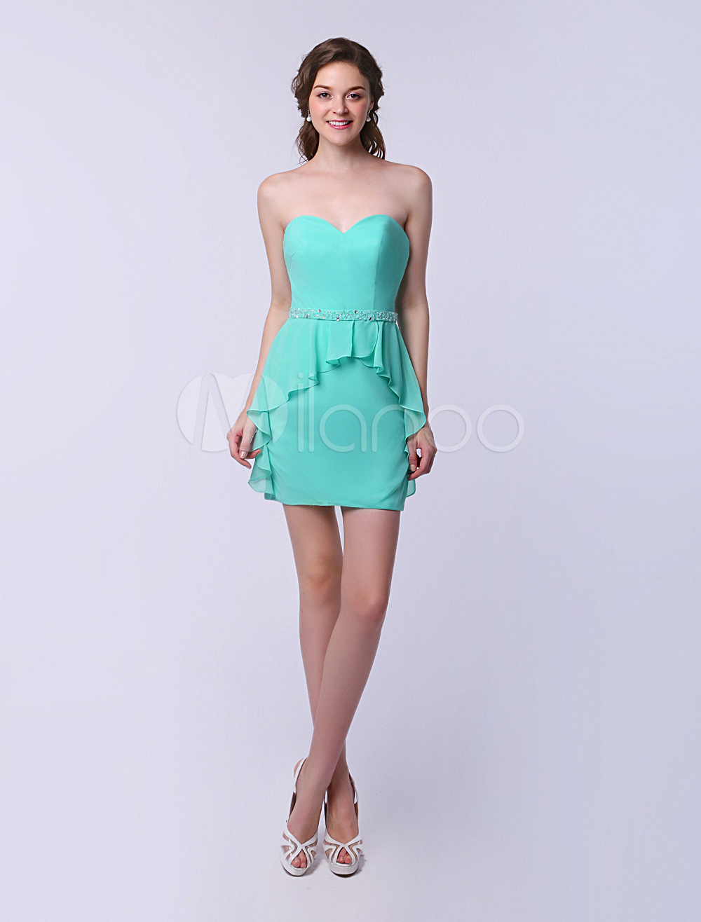Sweetheart Bridesmaid Dress Peplum Mint Green Sheath Chiffon Wedding Party Dress Milanoo