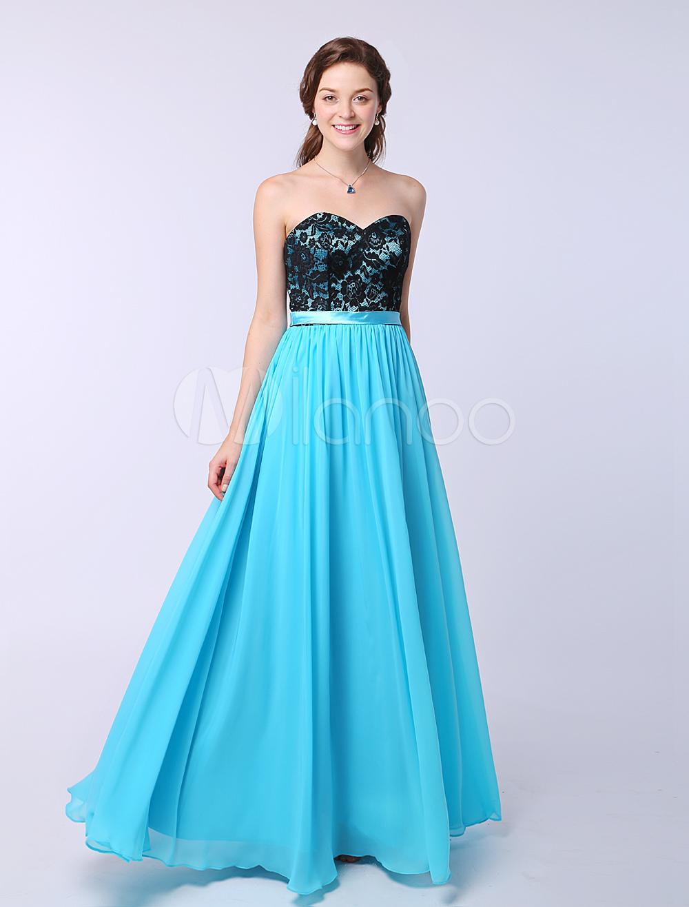 Aqua Sweetheart Bridesmaid Dress A Line Draped Floor Length Pleated Party Dress Milanoo