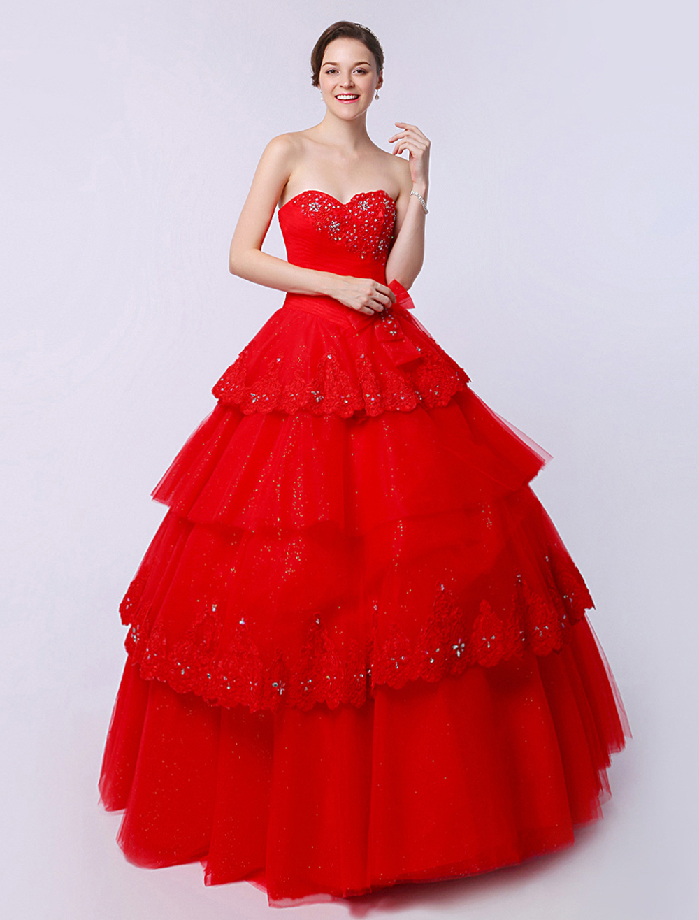 Red Floor-Length Ball Gown Quinceanera Beaded Dress with Applique (Wedding Quinceanera Dresses) photo