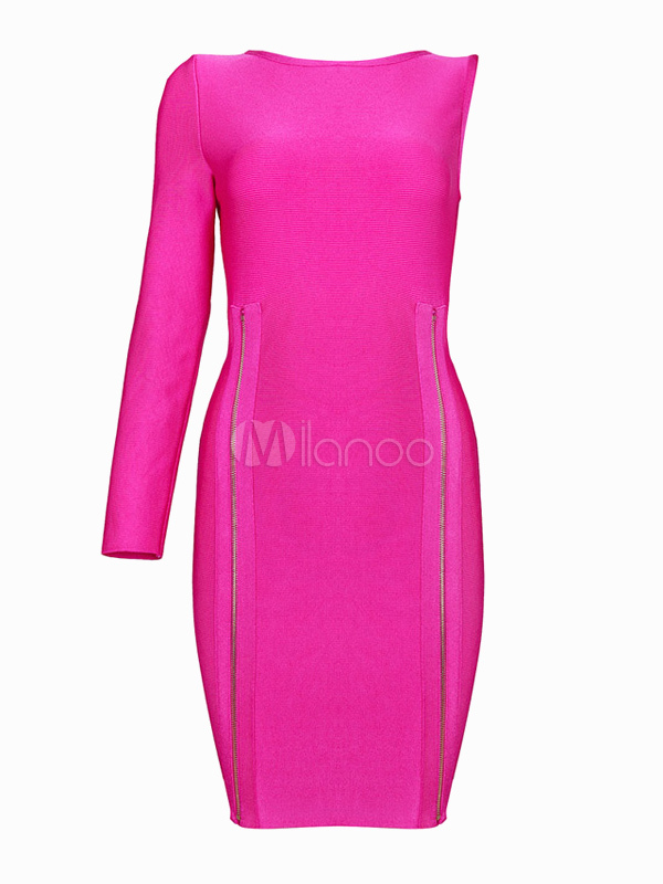 Quality Fuchsia One-Shoulder Zipper Rayon Bodycon Dress for Women