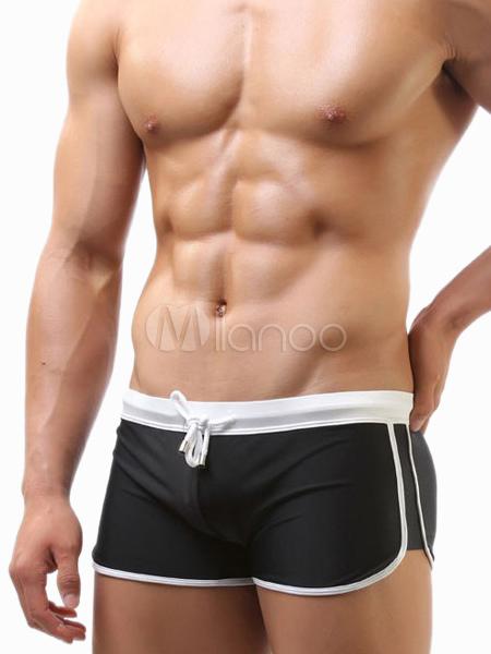 sexy maillot de bain homme unicolore avec passepoil sportif moulant. Black Bedroom Furniture Sets. Home Design Ideas