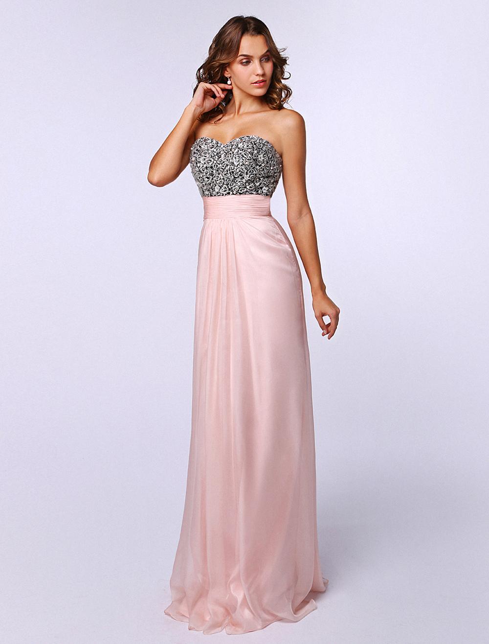 Pink Sweetheart Neck Sleeveless Pearls Elastic Silk Sheath Prom Dress (Wedding Prom Dresses) photo