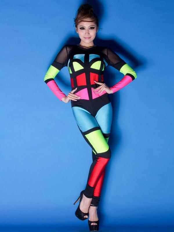 sexy costume de danse jazz en lycra spandex multicolore moulant. Black Bedroom Furniture Sets. Home Design Ideas