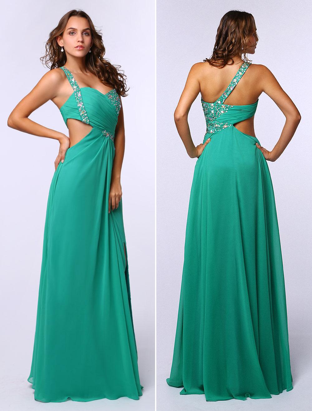 Blue Green Prom Dress Straps Chiffon Party Dress A Line Sleeveless One-Shoulder (Wedding Prom Dresses) photo