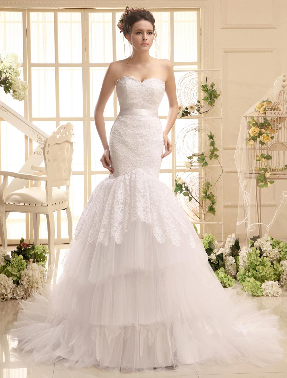 Court Train Sweetheart Neck Strapless Sash White Brides Wedding Dress photo