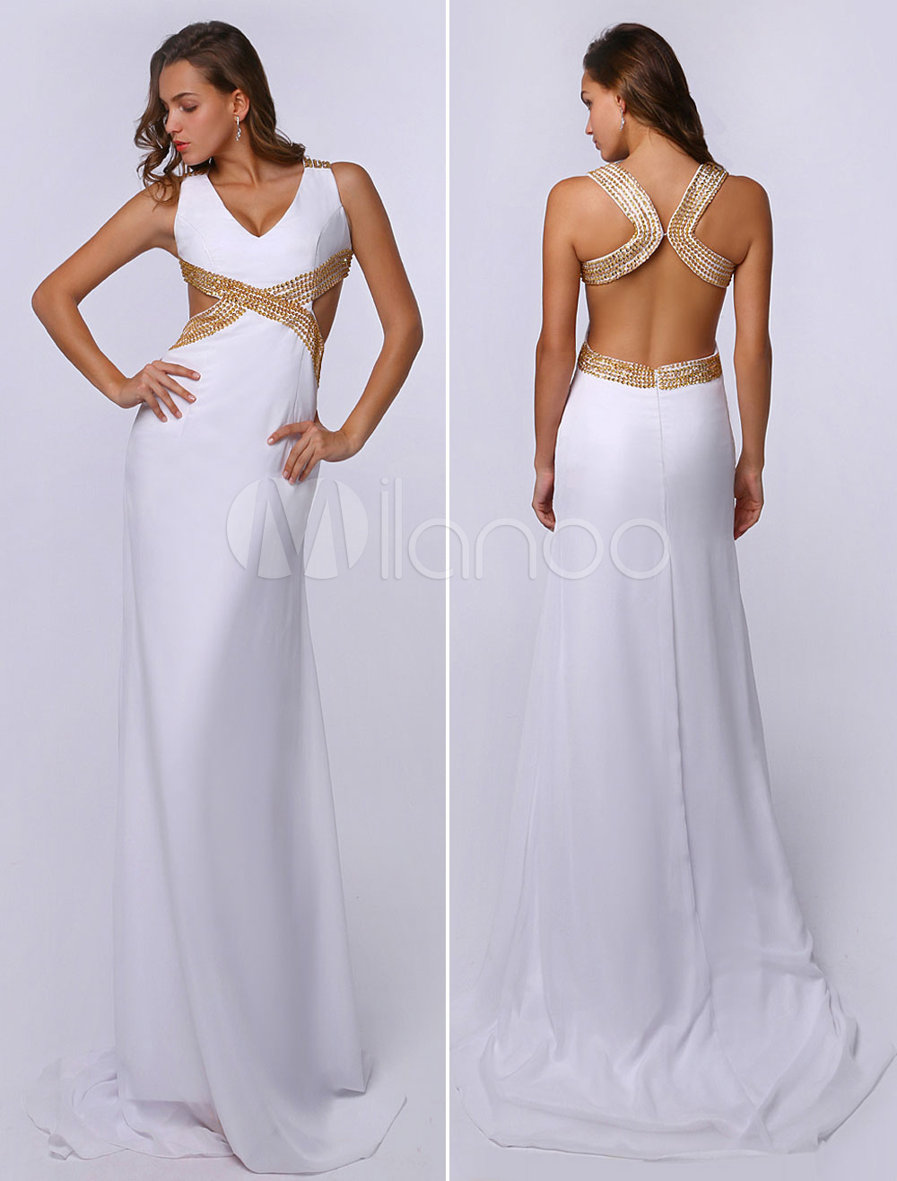 White Prom Dresses 2018 Long Backless Evening Dress Sheath Sequin V Neck Cutout Back Party Dress With Train (Wedding) photo