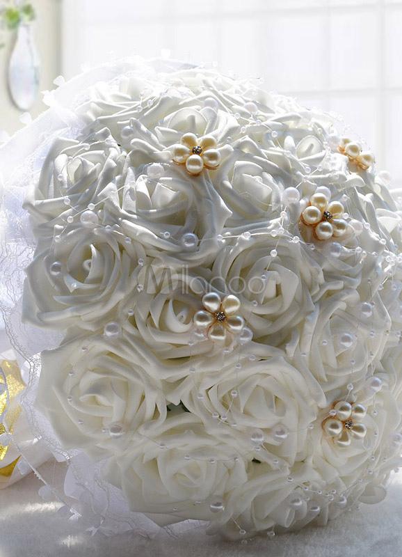 Bouquet de roses en satin pour la mari e avec perles for Bouquet pas cher livraison gratuite