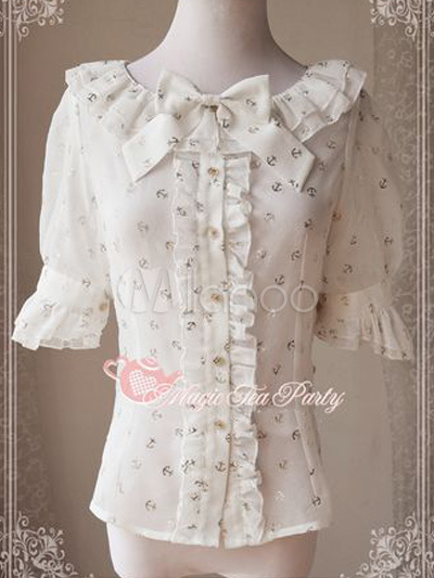 Elegant Half Sleeves Chiffon Sweet Lolita Blouse $35.99 AT vintagedancer.com