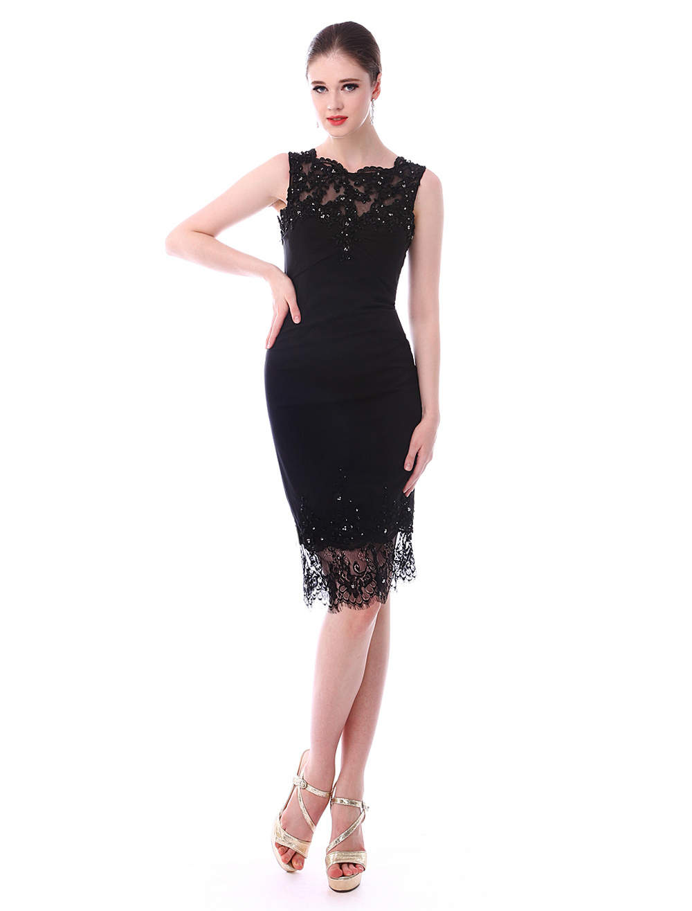 Black Knee-Length Satin Lace Cocktail Dress Wedding Guest Dress (Cocktail Dresses) photo