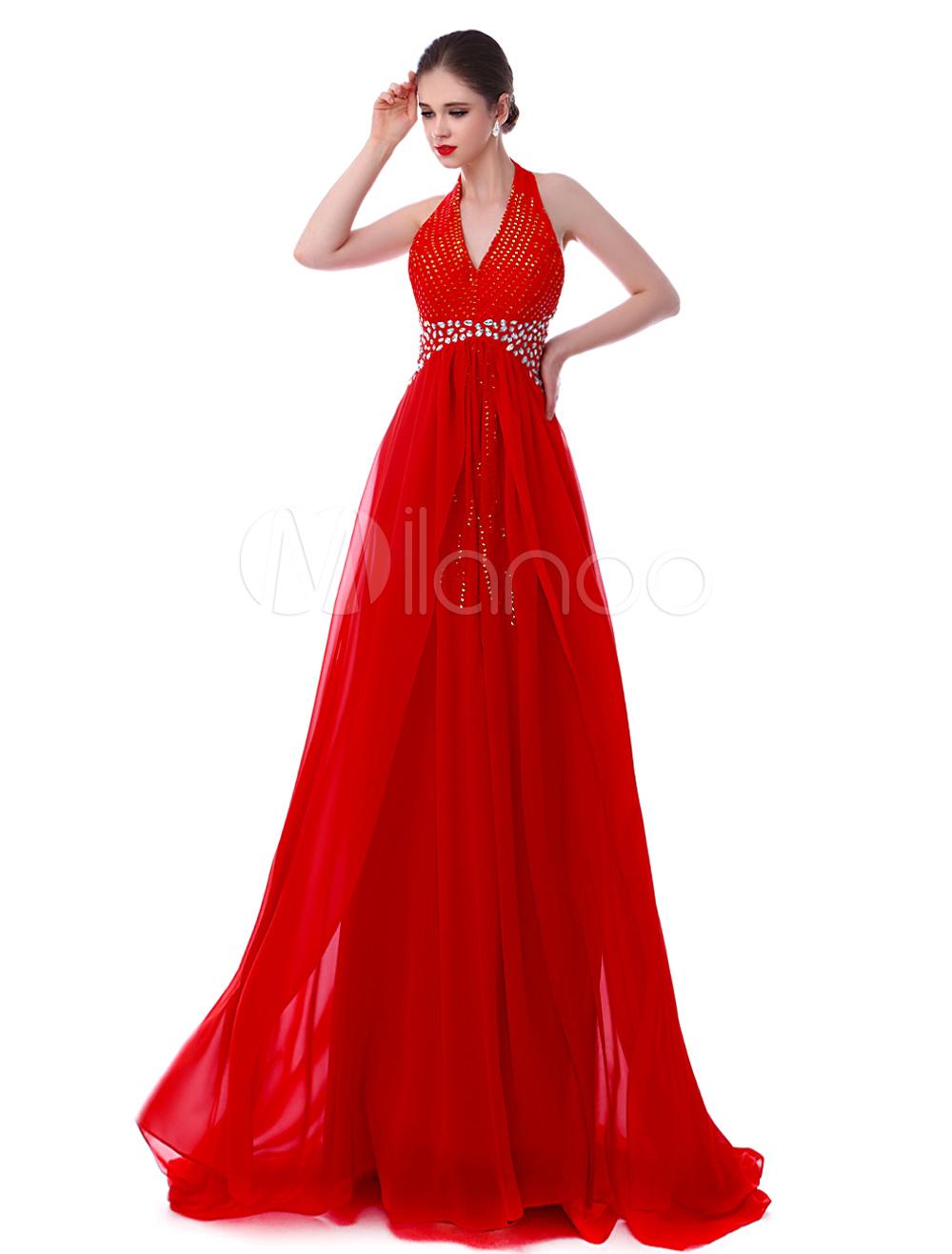 Gorgeous Red Chiffon Halter Sequin Evening Dress (Wedding Evening Dresses) photo