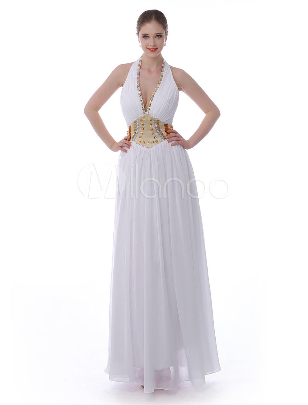 A-line White Chiffon Rhinestone Halter Floor-Length Evening Dress (Wedding Evening Dresses) photo