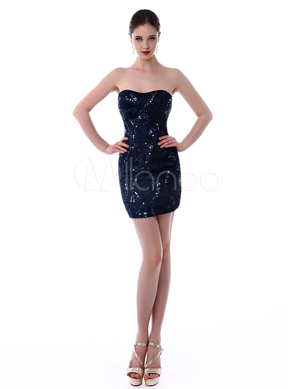 Elegant Dark Navy Strapless Lace Sequined Short Sheath Cocktail Dress (Wedding Cocktail Dresses) photo