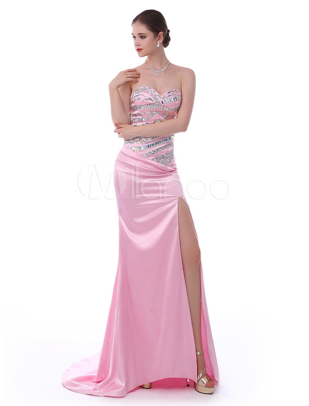 Pink Elastic Silk Sweetheart Neck Split Front Sweep Evening Dress (Wedding Evening Dresses) photo