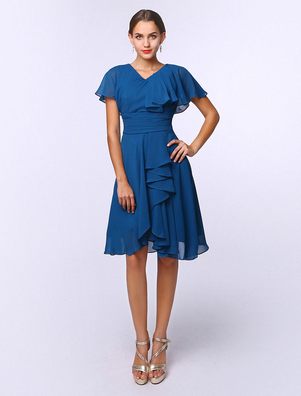 Glamour Royal Blue A-line V-Neck Cascading Ruffle Short Sleeves Chiffon Bridal Mother Dress (Wedding) photo