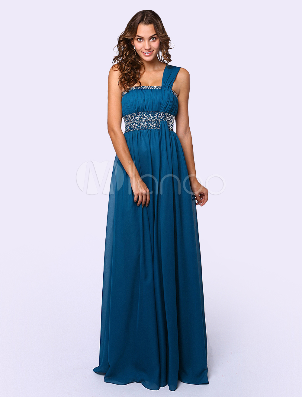Ocean Blue Chiffon Bohemian One-Shoulder Beaded Prom Dress (Wedding Prom Dresses) photo
