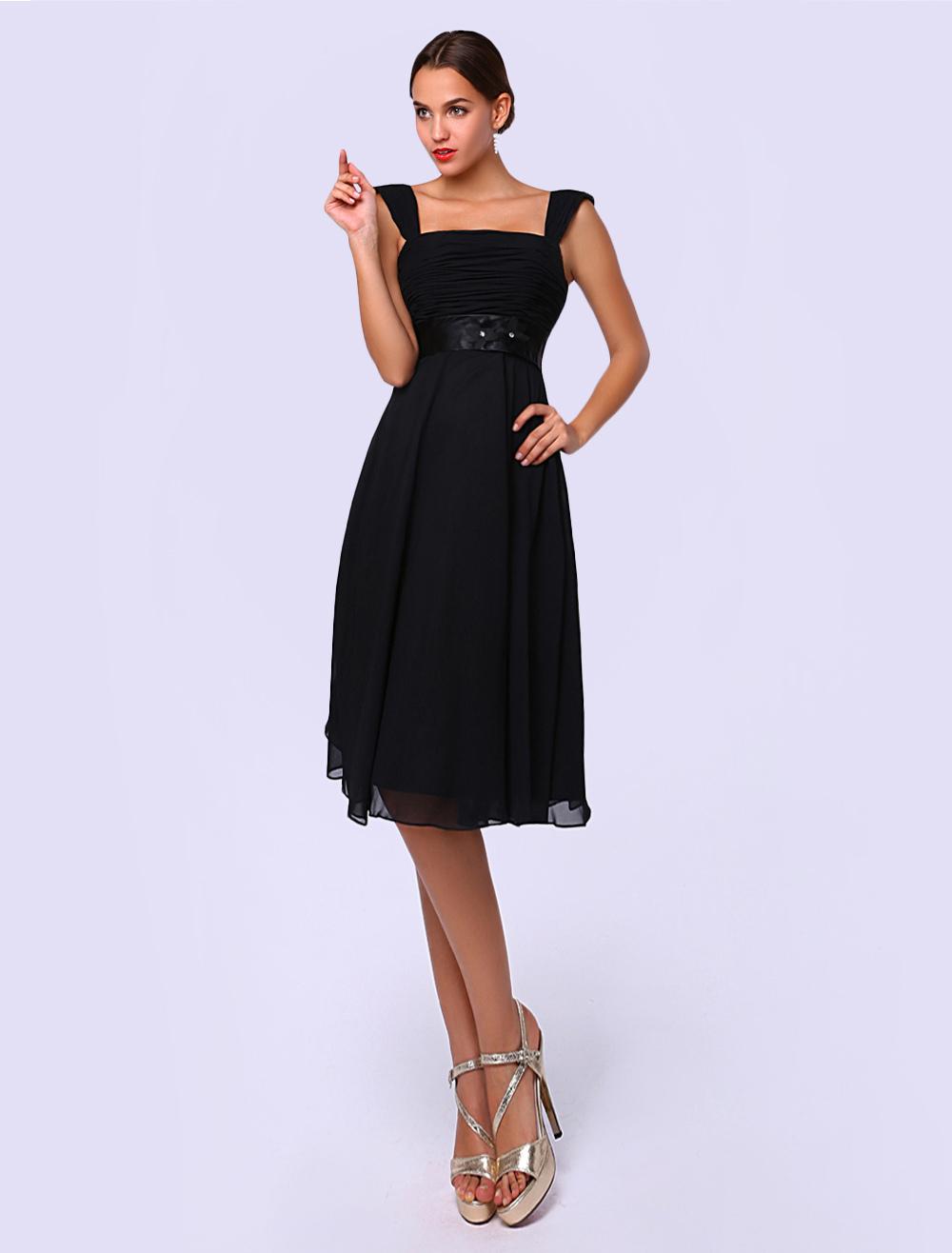 Black A-line Tea-Length Cocktail Dress with Square Neck Sash Chiffon