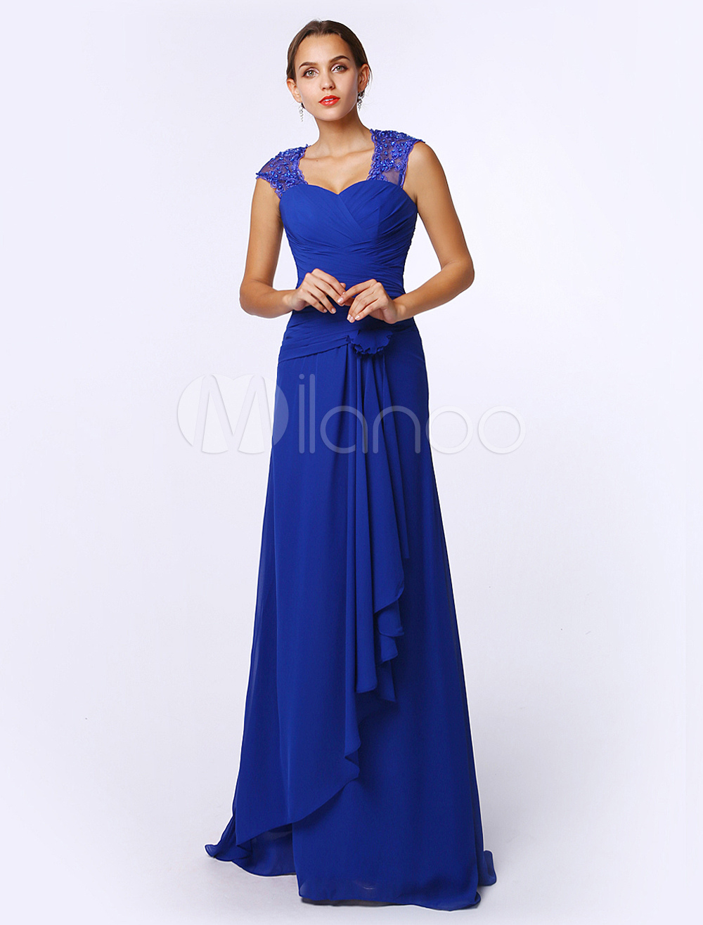 Royal Blue A-line Sweetheart Neck Sleeveless Chiffon Bridal Mother Dress (Wedding) photo