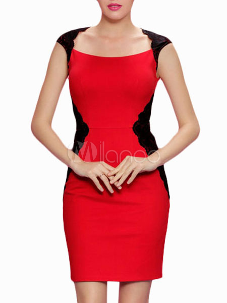 Red Short Sleeves Lace Cotton Blend Slim Bodycon Dress for Women (Women\\'s Clothing Bodycon Dresses) photo