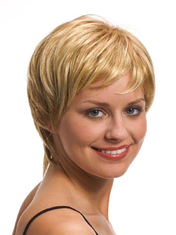 perruque femme courte fris e blonde bouriff e en fibre de coupe boyish. Black Bedroom Furniture Sets. Home Design Ideas