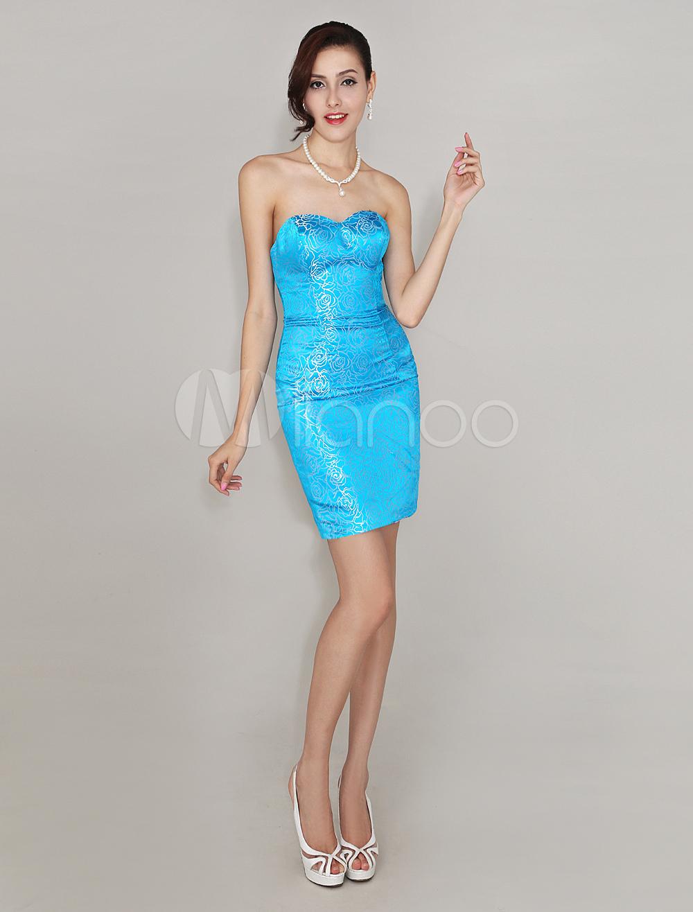 Blue Short Sheath Cocktail Dress with Sweetheart Neck Print Satin (Wedding Cheap Party Dress) photo