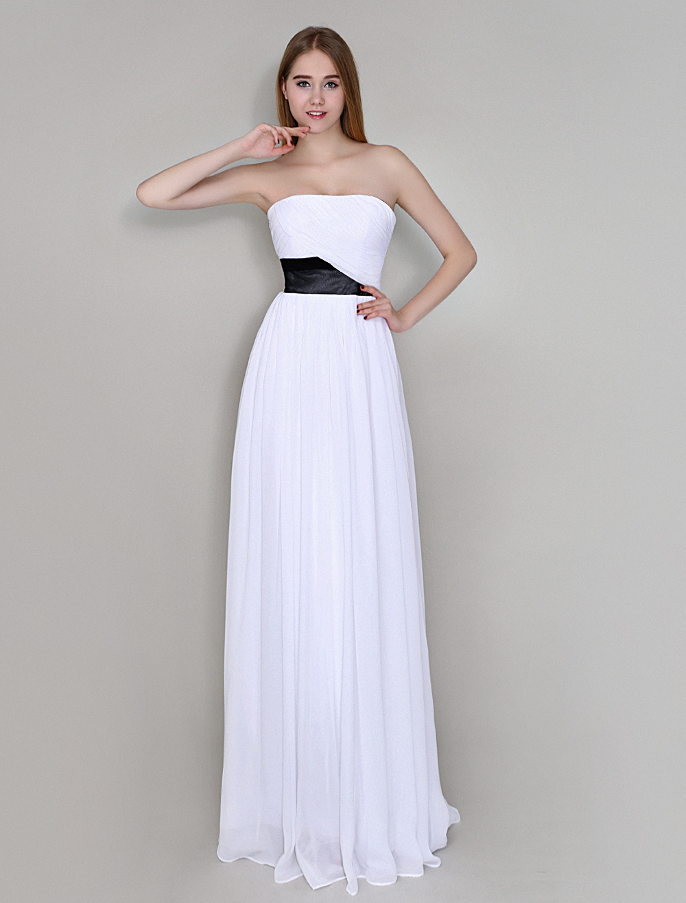 White Chiffon Floor-Length Bridesmaid Dress with Strapless Sheath Ruched Wedding Guest Dress