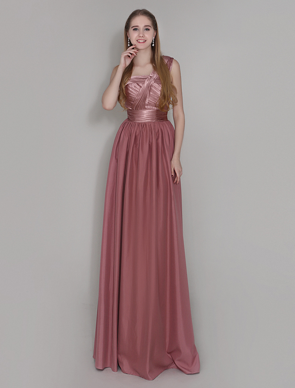 Maroon One Shoulder Bridesmaid Dress Floor Length Pleated Wedding Party Dress Wedding Guest Dress