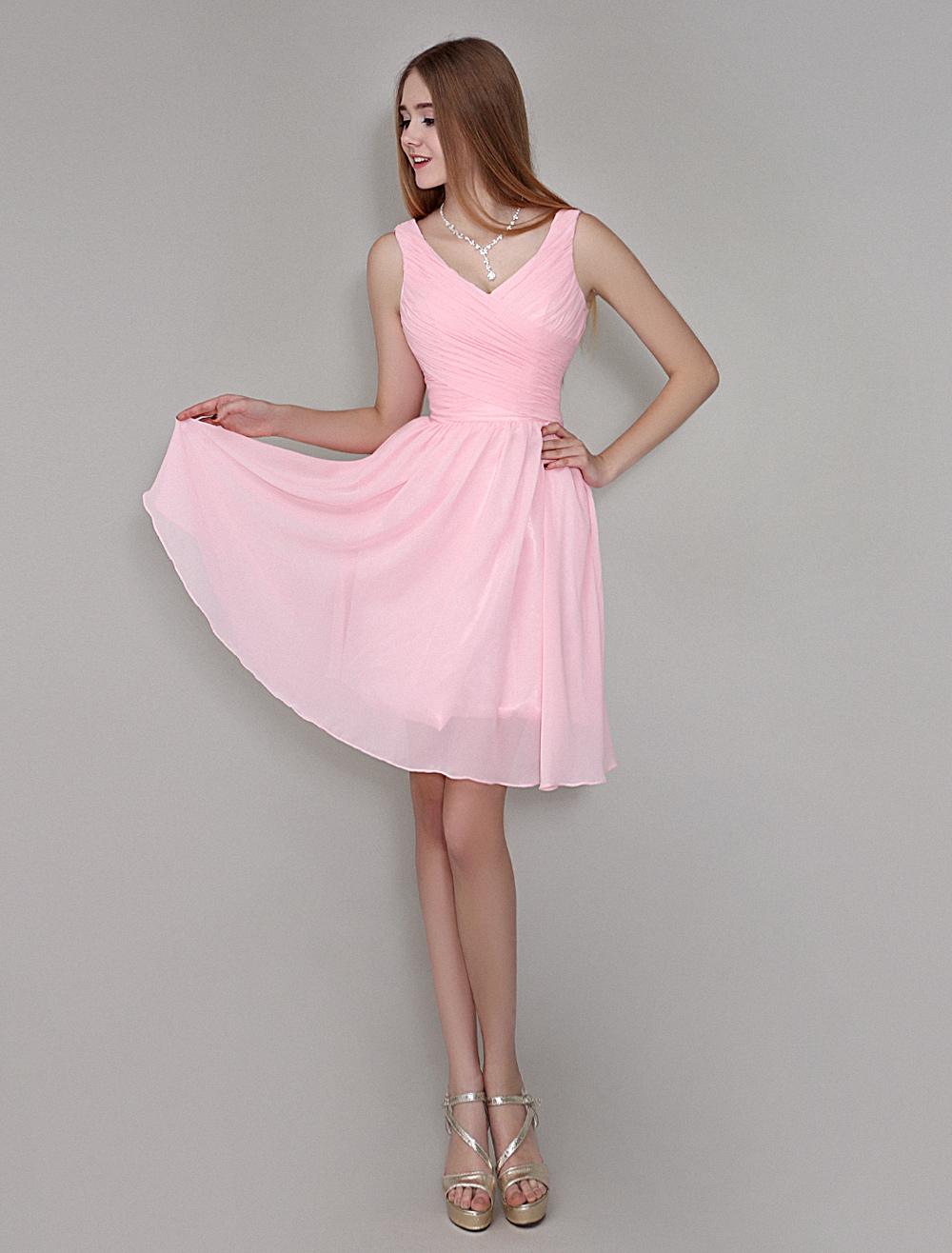 Blush Pink Knee-Length Chiffon Bridesmaid Dress