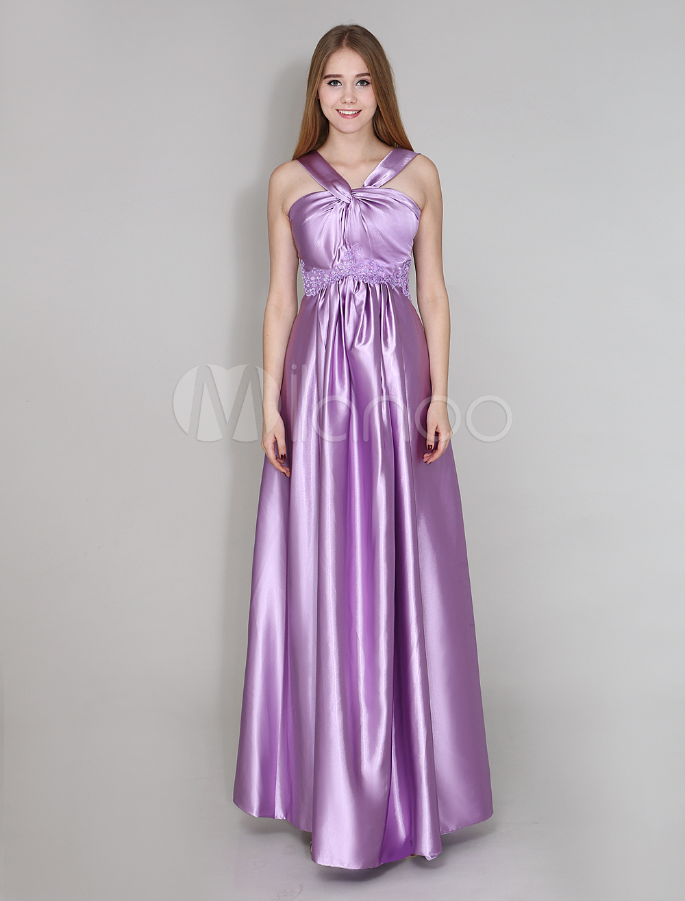Floor-Length Lilac Bridesmaid Dress With Sheath Twisted Satin Wedding Guest Dress