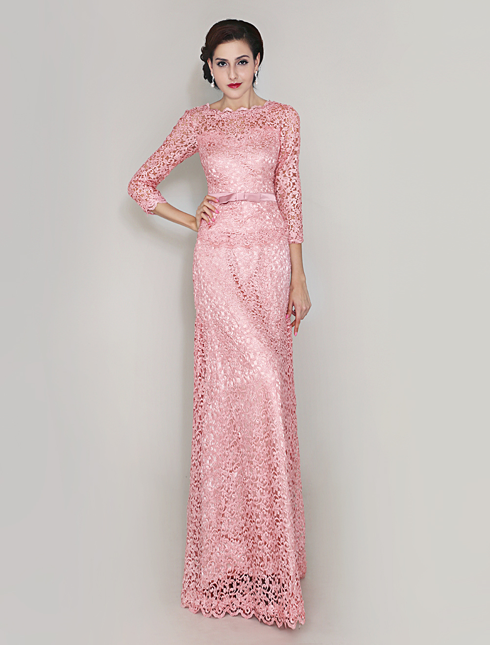 Pink Sheath Lace Dress For Mother of Bride (Wedding) photo
