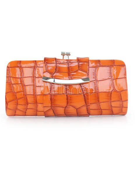 Attractive Orange PU Leather Woman's Rhinestone Evening Bag
