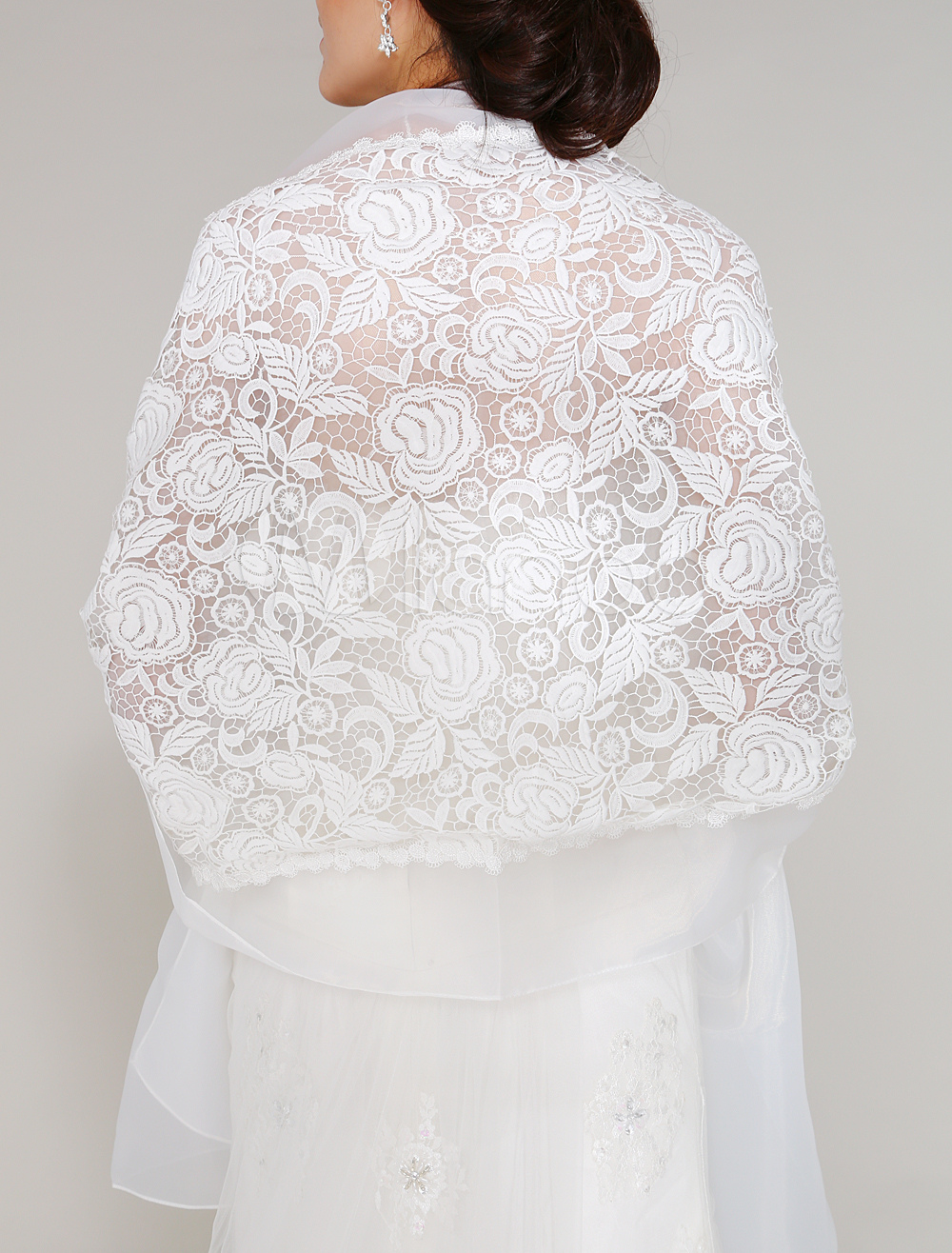 Ivory Tulle Wedding Shawl For Bride with Embroidered $34.99 AT vintagedancer.com