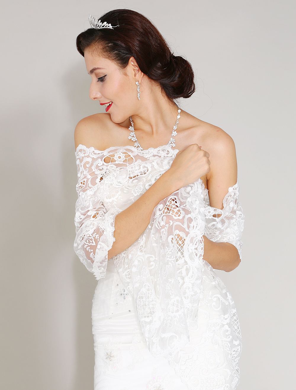 Beautiful Ivory Lace Wedding Shawl For Bride with Embroidered $37.99 AT vintagedancer.com