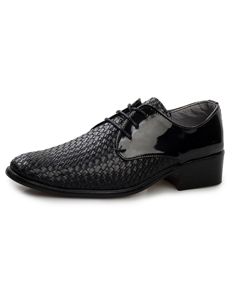 Modern black pointed toe lace up patent pu dress shoes for man