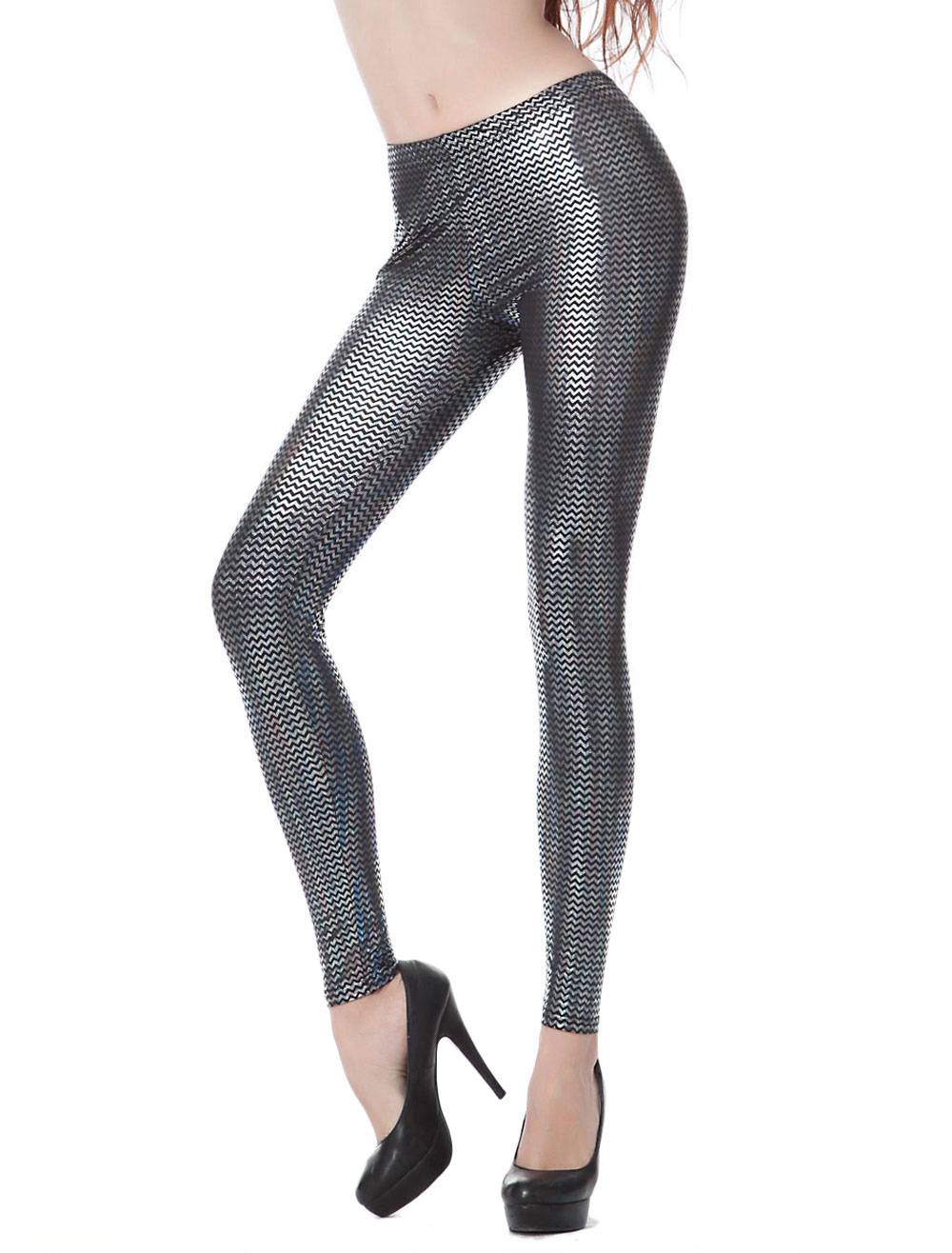 Silver Sequined Glitter Comfy Shaping Leggings For Women