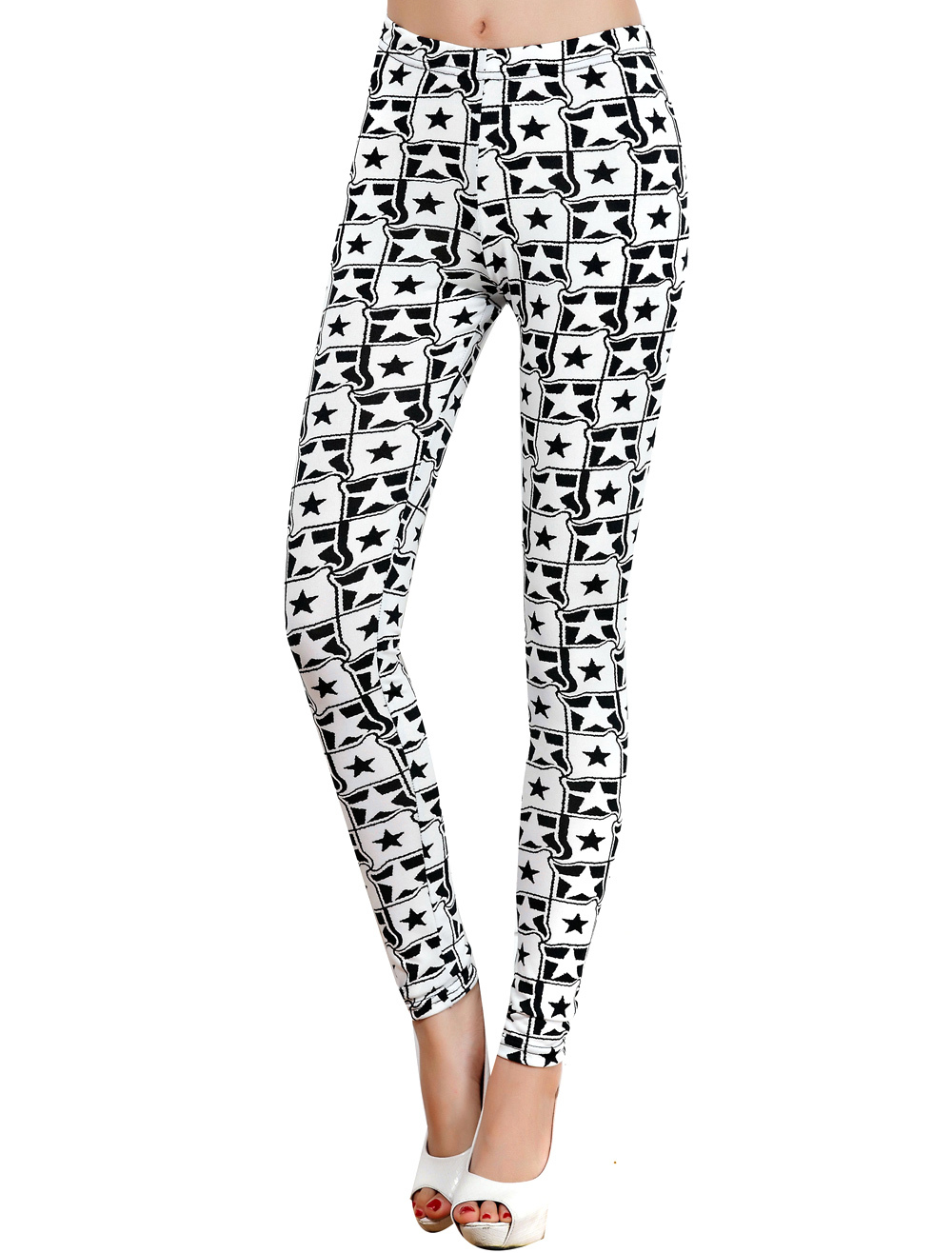 Polyester Stars Print Plaid Slim Women's Leggings
