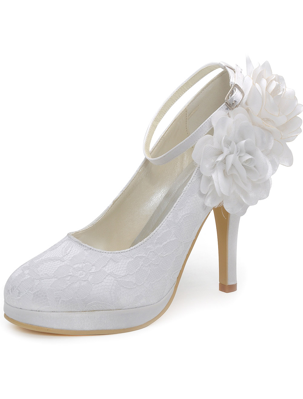 White Lace Almond Toe Silk And Satin High Heel Bride's Evening Shoes