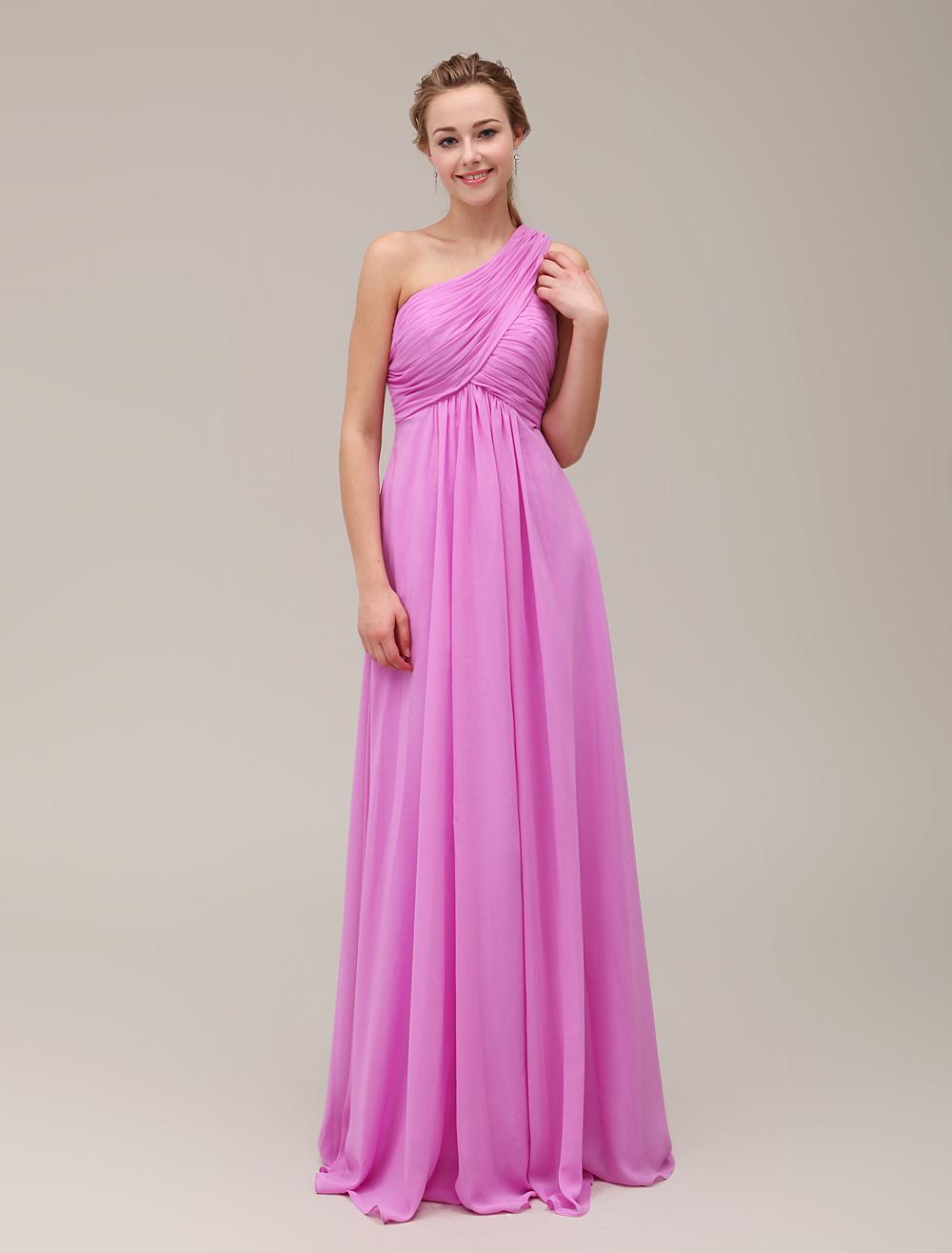 Fuchsia Pink Maternity Bridesmaid Dress One Shoulder Pleated Floor Length Chiffon Wedding Party Dress Milanoo photo
