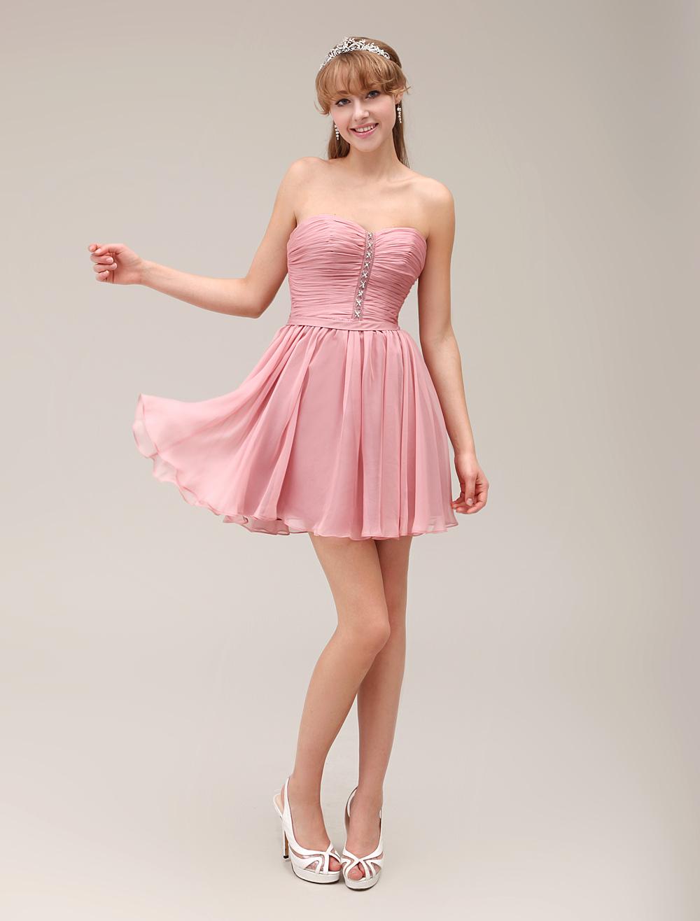 Beading Sweetheart Neck Short Bridesmaid Dress With Lace Pleated Chiffon Milanoo