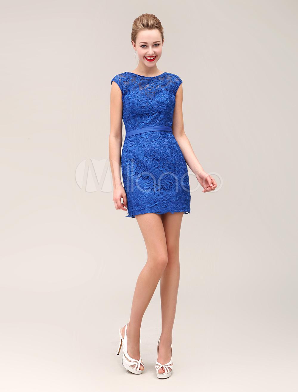 Lace Jewel Neck Sheath Lovely Belt Shaping Short Cocktail Dress With Stylish Cap Sleeve Milanoo