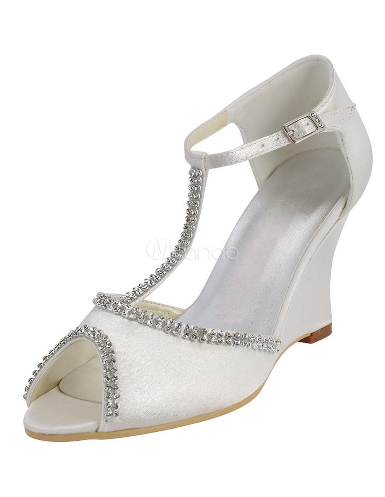 chaussure de mariage talon compens en satin blanc avec strass peep toe - Chaussure Compense Mariage